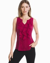 White House Black Market Ruffle-Front Shell Top