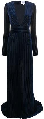 Galvan Navy Pinstripe Gown
