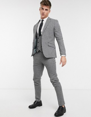 Gianni Feraud Slim Fit Wool Blend Small Check Suit Pants