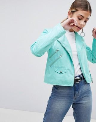 Asos Design DESIGN ultimate suedette biker jacket-Green