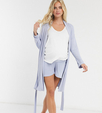 ASOS DESIGN Maternity mix & match soft rib pajama short with elastic waistband in blue