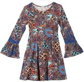 Speechless Girls 7-16 Printed Bell Sleeve Pleated Dress with Necklace