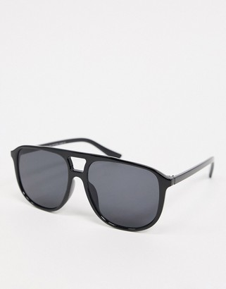 SVNX round aviator sunglasses in black