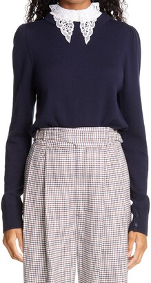 Adam Lippes Puff Sleeve Wool Sweater with Removable Lace Collar