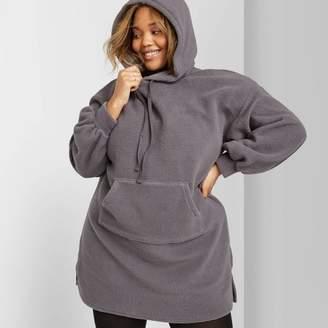 Wild Fable Women's Plus Size Long Sleeve Collared Hooded Sherpa Sweater Mini Dress - Wild FableTM