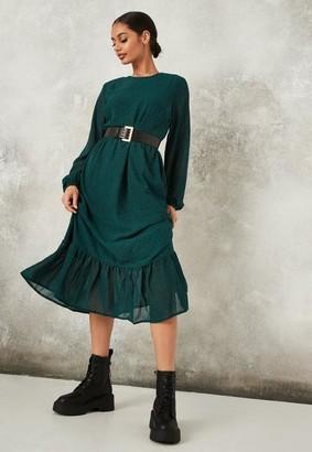 Missguided Teal Animal Print Ruffle Hem Midi Smock Dress