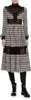 Valentino Graphic-Square Crepe de Chine Midi Dress