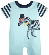 Andy & Evan Stretch Jersey Zebra Shortall, Blue, Size 3-24 Months