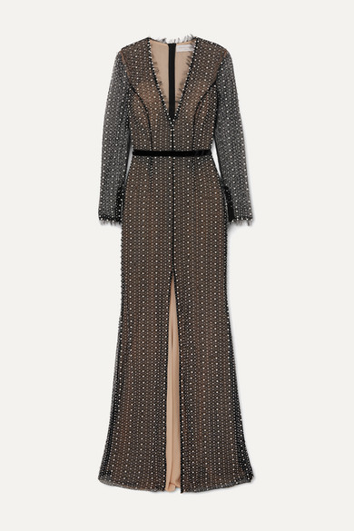 RALPH & RUSSO Faux Pearl And Crystal-embellished Tulle Gown - Black