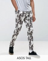 Asos Tall Skinny Cropped Pants In Palm Tree Print