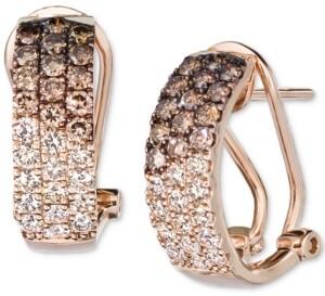 LeVian Le Vian Ombre Chocolate Diamond (3/4 ct. t.w.) & Nude Diamond (1/2 ct. t.w.) Omega Hoop Earrings in 14k Rose Gold