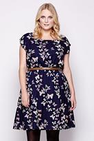 Yumi Curves Navy Butterfly Belted Dress plus size 18-26