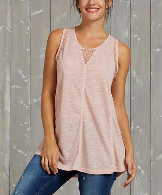 Simple By Suzanne Betro Simple by Suzanne Betro Women's Tunics 102PINK - Pink Mesh-Inset Racerback Tank - Women & Plus