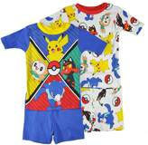 Pokemon Little/Big Boys Charcter Print Four-Piece Snug Fit Pajama Short Set