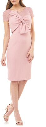 JS Collections Bow Stretch Crepe Cocktail Dress