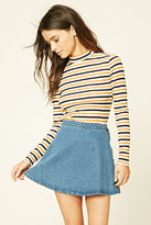 Forever 21 Striped High Neck Top