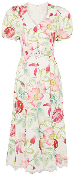 Andrew Gn Belted Floral-print Silk-crepe Midi Dress - White
