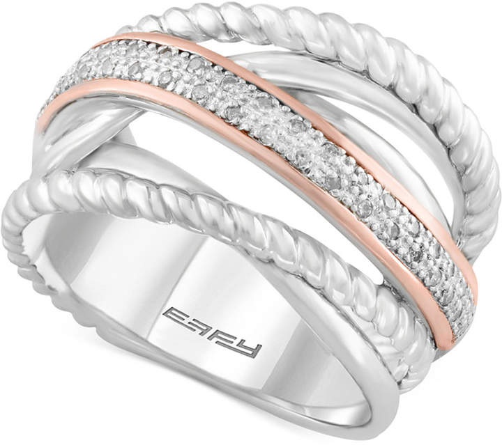 Effy Balissima by Diamond Rope Twist Ring (1/10 ct. t.w.) in Sterling Silver and 14k Rose Gold