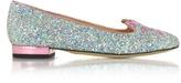 Charlotte Olympia Kitty Fantasy Silver Glitter and Rose Quartz Metallic Leather Flats