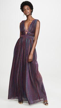 Jonathan Simkhai Rainbow Pleats Open Neck Maxi Dress