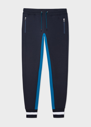 Men's Navy Track Pants With Stripe Cuffs