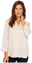 Tribal 3/4 Sleeve Blouse w/ Embroidery Detail Women's Blouse