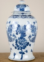 The Well Appointed House Blue and White Flower Design Porcelain Temple Jar Vase - IN STOCK IN OUR GREENWICH STORE FOR QUICK SHIPPING