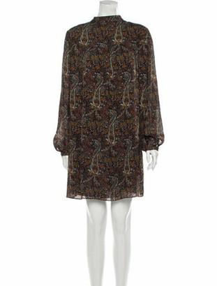 Saint Laurent Floral Print Knee-Length Dress Brown