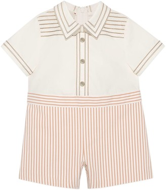 Gucci Baby striped silk and cotton one-piece