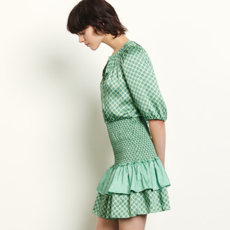 Sandro Short mixed print dress with smocking