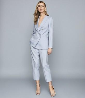 Reiss Lauren - Wool Linen Blend Double Breasted Blazer in Blue