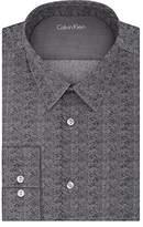 Calvin Klein Men's Stretch Xtreme Slim Fit Herringbone Print Point Collar Dress Shirt