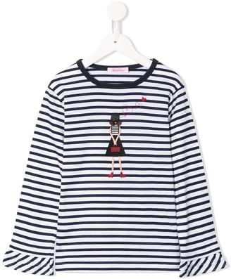 Familiar long sleeve striped T-shirt