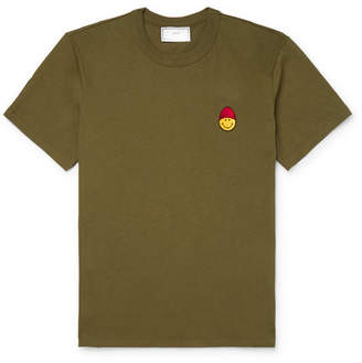 Ami + The Smiley Company Logo-Appliqued Cotton-Jersey T-Shirt