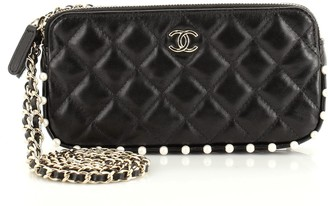 Chanel Double Zip Clutch with Chain Quilted Calfskin with Pearl Detail