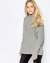 Vila Indie High Neck Textured Sweater In Gray