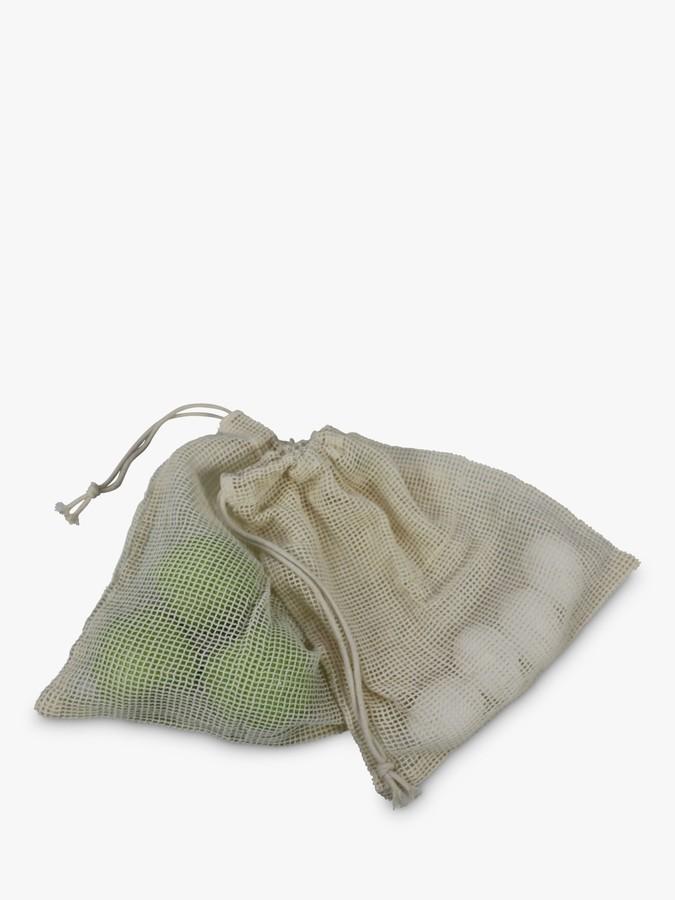 Dexam Organic Cotton Reusable Mesh Fruit & Vegetable Bags, Pack of 3, Natural