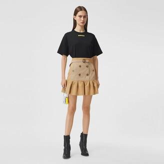 Burberry Fluted Two-tone Cotton Gabardine A-line Skirt
