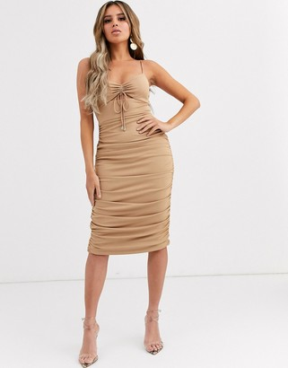 Significant Other horizon ruched bodycon midi dress
