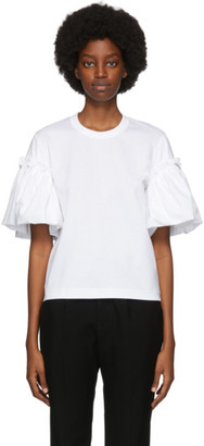 Noir Kei Ninomiya White Cotton Gathered Sleeve T-Shirt