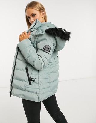 Brave Soul arna padded coat with faux fur trim hood
