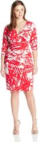 Calvin Klein Women's Plus-Size V Neck Long Sleeve Printed Wrap Dress
