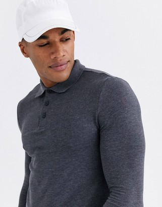 Asos Design DESIGN organic muscle fit long sleeve jersey polo in charcoal marl