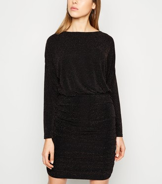 New Look Glitter Long Sleeve Ruched Dress