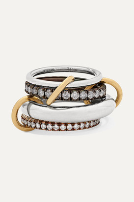 Spinelli Kilcollin Cassini Set Of Four Sterling Silver, Rhodium-plated And 18-karat Gold Diamond Rings