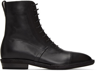 Haider Ackermann Black Leather Lace-Up Boots