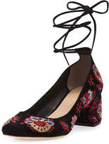 Loeffler Randall Clara Embroidered Suede Ankle-Tie Pump, Black Floral