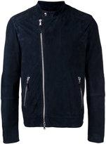 Eleventy slim fitting biker jacket with silver tone hardware - men - Cotton/Suede - 48