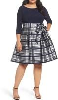 Eliza J Plus Size Women's Mixed Media Tie Waist Party Dress