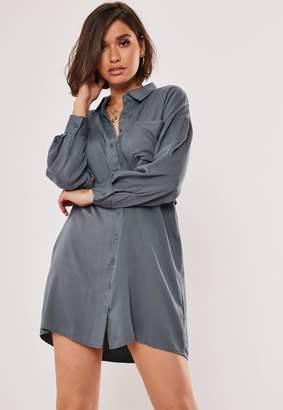 Missguided Blue Utility Shirt Dress